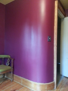 The curved wall looks so much better in burgundy than in brown and orange plaid.